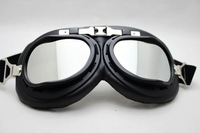 5pcs/lot Motorcycle Scooter Steampunk Cruiser Helmet Goggle Eyewear Silver Lens T01H  motorcycle goggle
