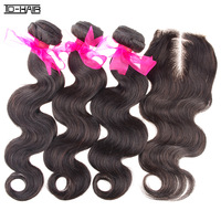 Queen Virgin Brazilian hair extension body wave 3 bundles with 1pc lace closures, Unprocessed natural color 1b# TD HAIR