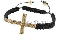 Gift Fashion Shamballa Bracelet, wax cord & rhinestone zinc alloy beads, cross design, Sold per 7.5 Inch- Strand