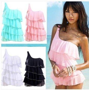 Free Shipping Ladies Lovely Sexy Fanshion  Monokini Swimdress Swimwear Swimsuit 4 colors