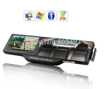 "Car Rearview Mirror 5"" Inch HD LCD GPS Navigator with Bluetooth headset, AV-in, FM  preload Navitel 9.1 or full Europe map"