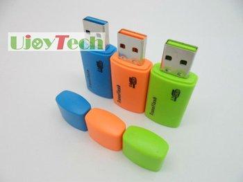 50pcs/lot Micro SD Card Reader Real USB 2.0 High Speed TF card reader Promotional Gift card reader-Free Shipping