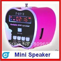 Digital Portable Speaker with LED Light  Micro SD TF Card FM Radio Line In/ Out sound box  10pcs/lot