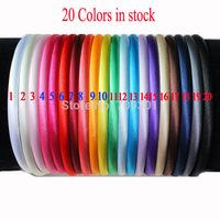 Free shipping 60 pcs/, 8mm solid Baby Satin Headband plain flowers Headbands girls Kids'Hair accessories, 20 colors