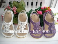 2013 New Arrival Baby Girl Squeaky sandals Solid White Solid Purple  Flower Sandals with Shining Stones L143