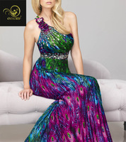 Real Photos Printing Fabirc Beading and Pleat 100% Handwork one-shoulder Celebrity Evening Dresses OL101881
