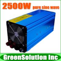 Free Shipping, 2500W Off Grid Tie Inverter DC12V/24V/48V Pure Sine Wave Inverter for Wind Turbine/PV System, 5000W Peak Power