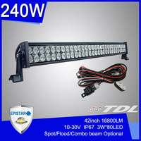 42&quot; inch 240W Offroad LED Light Bar Off Road LED work lamps Worklight Spot Flood Combo Beam 4WD Cars SUV ATV TRUCK Farming Light