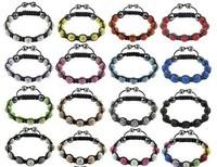 Trendy Fashion 10mm Clay Disco Crystal Beads Strand Braid Shamballa Bracelet Handmade Jewelry
