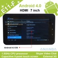 7inch Capacitive Touch Screen VIA 8850 1.5GHz CPU Android 4.0 512MB Memory 4GB HDD tablet 7 E11-F