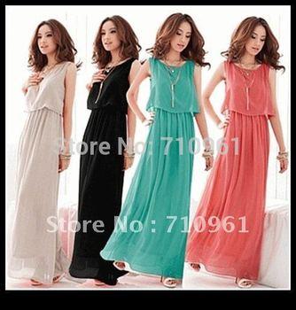 Dresses Vestido Sexy Dress Natural None Hot Sell 2015 New Women Bohenmia Wave Strap Princess Chiffon Long Maxi Dress Four Colors