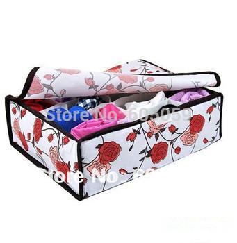 Rose flower storage boxes cover underwear 16 grids women storage box socks home organization underwears 35*26*10cm uh134