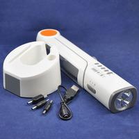 (English Version) Solar Powered & Crank Dynamo Reading/Desk LED Lighting + FM Radio+Flashlight+Universal Charger for Phone