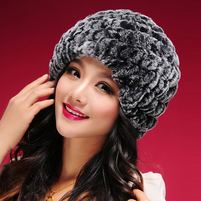 060108 classic tight Knitted Real REX rabbit fur hat women cap winter skullies beanie headgear headdress head warmer top quality(China (Mainland))
