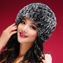 060108 classic tight Knitted Real REX rabbit fur hat women cap winter skullies beanie headgear headdress head warmer top quality(China (Mainland))