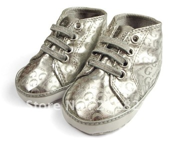 ZA001 Fashion silver leather baby girl shoes first walkers home shoes infant shoes size 11cm 12cm 13cm
