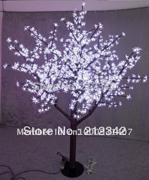 LED cherry blossom tree light Christmas Light 480pcs LED Bulbs 1.5m Height Straight Trunk 110V/220VAC White Color Free Shipping(China (Mainland))