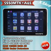 X-SHOP S550MTK+A6S bluetooth HD LCD 128MB GPS+Radar Detectors+4GB MAP+AV-IN Russia/Belarus/Ukraine/Brazil map