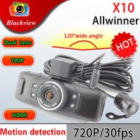 "Dual lens Car DVR X10 Dual Lens 2.0""TFT HD 720P 120 Degree Angle lens With G-sensor Car Camera Black Box"
