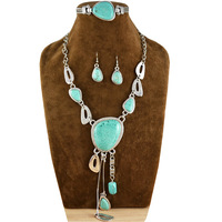 Vintage Look Retro Craft Tibet Alloy Silver Plated Exotic Dangle Pendant Necklace Bracelet Earring Turquoise Jewelry Set S041