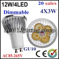 New discount 20pcs/lot High power LED bulb Free shipping GU10 4x3W 12W Dimmable Led Light Lamp  Warm/Pure/Cool White 4leds