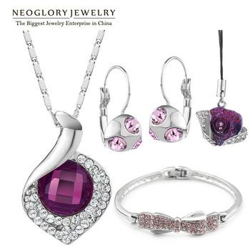Neoglory Top Quality Austria Crystal Rhinestone Fashion Jewelry Sets for Women Wedding Jewellery 2015 New Brand Pur1 CLE