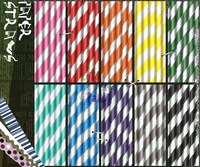"300 Assorted Designs of 7.75"" Striped Retro Paper Straws in OPP Packaging (40 packs/1,000 pcs)"