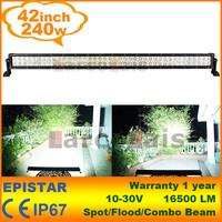 """42"""" inch 240W LED Work Driving Light Bar Spot Flood Beam for 4x4 Car Truck Boat Wide SUV ATV OffRoad Fog Lamp 12V 24V"""