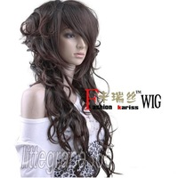 new women's lady girl sexy long full curly/wavy hair wigs fashion cosplay party black/dark brown/flaxen yellow kariss