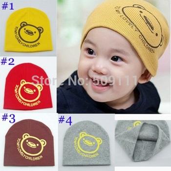 Kids Beanies with bear Baby bear hats Infant Spring caps Children beanie cap Toddler hats for boy girl cartoon design 10pcs H071