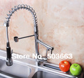 New Free Ship Pull Out Faucet Chrome Water Power Swivel kitchen Sink Mixer Tap Double Handle CQ0002