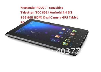 "Free shipping Freelander PD20 7"" capacitive Telechips, TCC 8923 Android 4.0 ICS 1GB 8GB HDMI Dual Camera GPS Tablet PC"