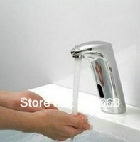 Free Ship Single Cold Automatic Hands Touch Free Sensor Brass Faucet Chrome Bathroom Sink ContemporaryTap CM0301
