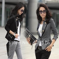 2012 elegant fashion Double-breasted OL style long sleeve jacket coat ladies blazer Chic Suit 2 colors free shipping 7211(China (Mainland))