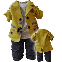 2013 New arrival children's Clothing Sets cotton coat+T-shirt+pants baby boy/kid three piece sets Free shipping  in stock