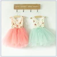 girl dress 1-5T  Floral Cotton 6 layer yarn princess tutu baby girls dress rose red  Watermelon white purple green pink Y-AUG3