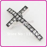 Free Shipping 20pcs/lot Fashion DIY Crystal Rhinestone Cross Beads White Gold Plated  Sideways Bracelets Connectors MC-D12