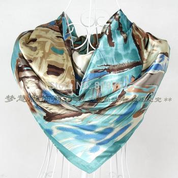 2014 New Arrival Female Blue Silk Scarves Fashion Accessories Satin Big Square Silk Scarf Printed For Women Winter Autumn Wraps