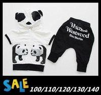 2013 Summer children suit baby boys panda cartoon sports clothing kids clothes fashion sport suit t shirt hoodie+pants 2pcs set
