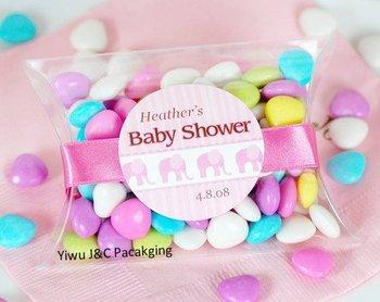 FREE SHIPPING--100PCS Clear PVC Pillow Shape Candy Boxes,Wedding Favor Box, Baby Shower/Bridal Shower Sweet Gift Box (JCO-78)