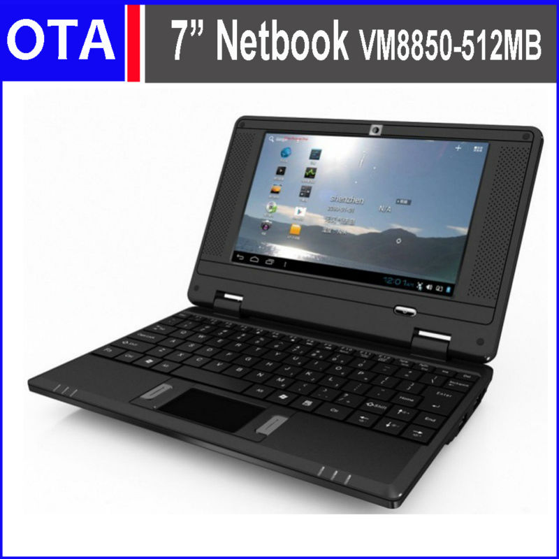 "7"" mini ordenador portátil netbook android a través de android 8850 4.2 512mb 4gb netbook rj45 usb puertos hdmi wifi webcamera cuaderno"