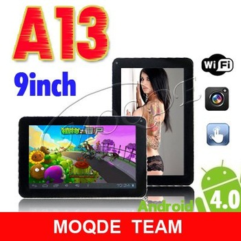 NEW 9 inch android 4.0 Capacitive Screen 512M 8GB Camera WIFI allwinner a13 tablet pc free shipping