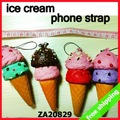 [P] FREE SHIPPING mobile phone strap ice cream squishy bread scent charm pendant fashion promotion gift 30pc/lot say hi ZA 20829