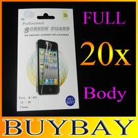 High quality Clear LCD Screen Protector For iPhone 4G 4S ,full body Front+Back screen guard film with retail package,20pcs/lot
