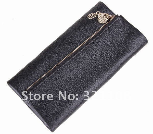 GENUINE LEATHER WOMENT LONG WALLET FASION PURSE WOMEN CLUTCH FREE SHIPPING WL002(China (Mainland))