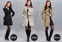 2014 wholesale free shipping New Women's Classic Double-breasted Long Trench Coat 3 colors Free Size 31