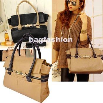 Ladies Stylish bags PU Leather bag 2013 Turn-Lock Clasp Handbag Totes Satchel Shoulder Bag Cross-Body  7493