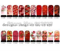 20sheets,12pcs/sheet  C3 wholesale item SeriesNail Art Stickers Full Cover Nail tips sticker  FREE SHIPPING