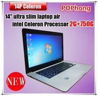 750GB HDD 14 inch ultraslim cheap laptop computer 2gb ram Intel celeron processor windows 7 english