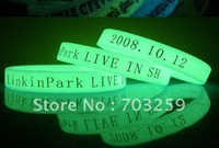 500pcs wholesale glow in the dark rubber silicone bracelets EG-WBG001 customized fluorescent bracelet & bangles china for events